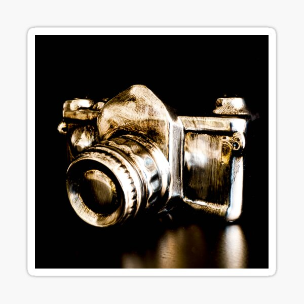 Candid Thoughts- A Modern Silver Gold Camera Sticker