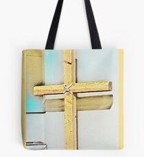 Das Kreuz (helles Holzthema) Tote Bag