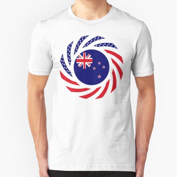 New Zealander American Multinational Patriot Flag Slim Fit T-Shirt