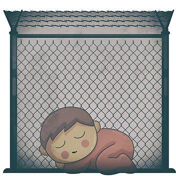 Little Latino Boy Alone in Trump Border Prison Camp Cage by merchhost