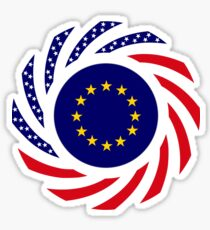 European American Multinational Patriot Flag Series Sticker