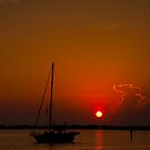 Eau Gallie, Florida, Red Sky By Morning. by Albert Dickson