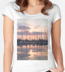 Softly - God Rays and Yachts in Rose Gold and Amethyst Women's Fitted Scoop T-Shirt