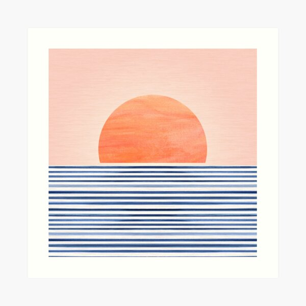 Mid Century Beach Sunset Design Art Print
