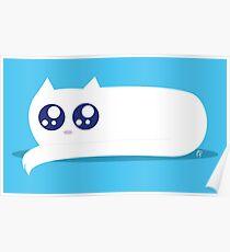 White Chibi Cat Poster