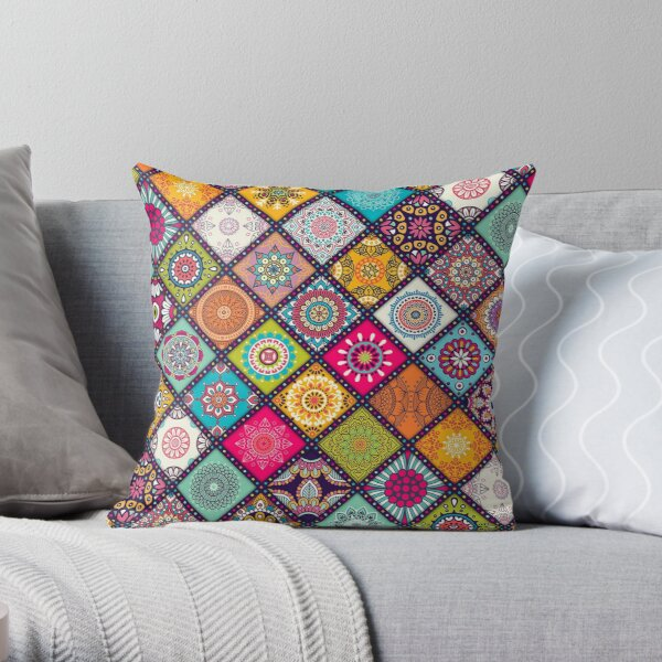 Colorful Bohemian Mandala Pattern Throw Pillow