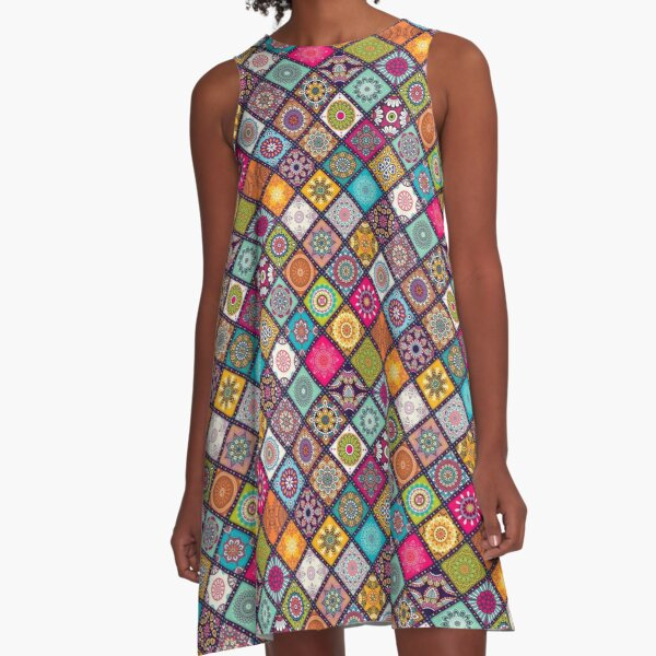 Colorful Bohemian Mandala Pattern A-Line Dress