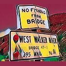 No Fishing from Bridge !   (red/yellow) by Joe Lach