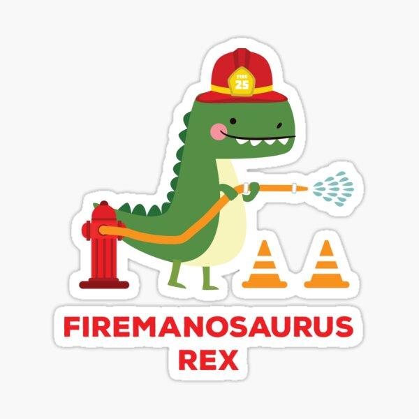 Firemanosaurus Rex - T-Rex Tyrannosaurus Rex Dinosaur Sticker