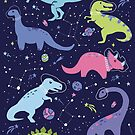 Space Dinosaurs in a Purple Sky by latheandquill
