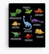 Types Of Dinosaurs Canvas Print