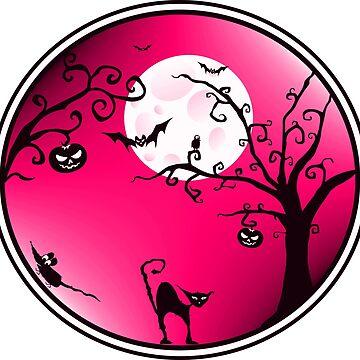 Halloween landscape pink by AK1Shirts