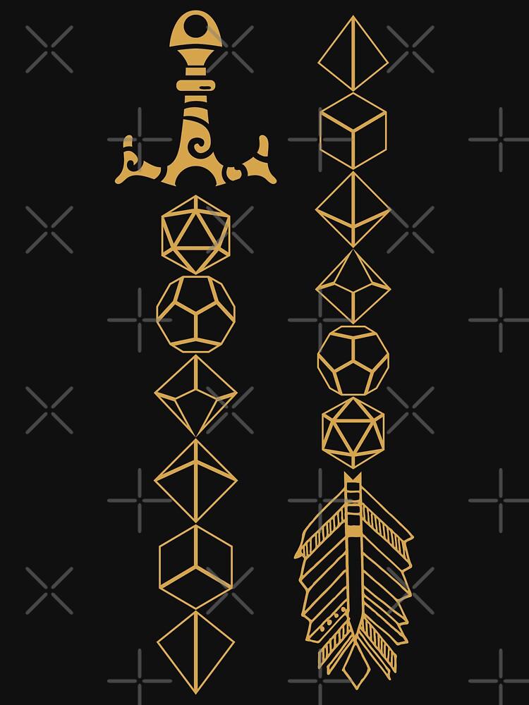Juego de dados poliédricos Juego de rol de espada y flecha para mesa de pixeptional