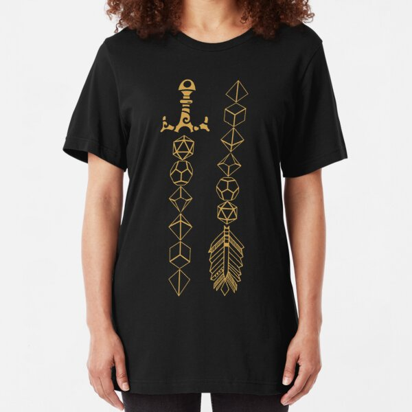 Polyhedral Dice Set Sword and Arrow Tabletop RPG Gaming Slim Fit T-Shirt