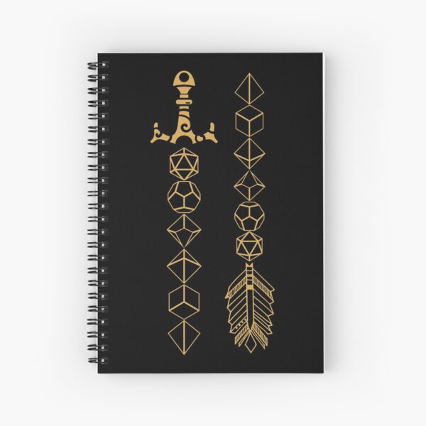 Polyhedral Dice Set Sword and Arrow Tabletop RPG Gaming Spiral Notebook