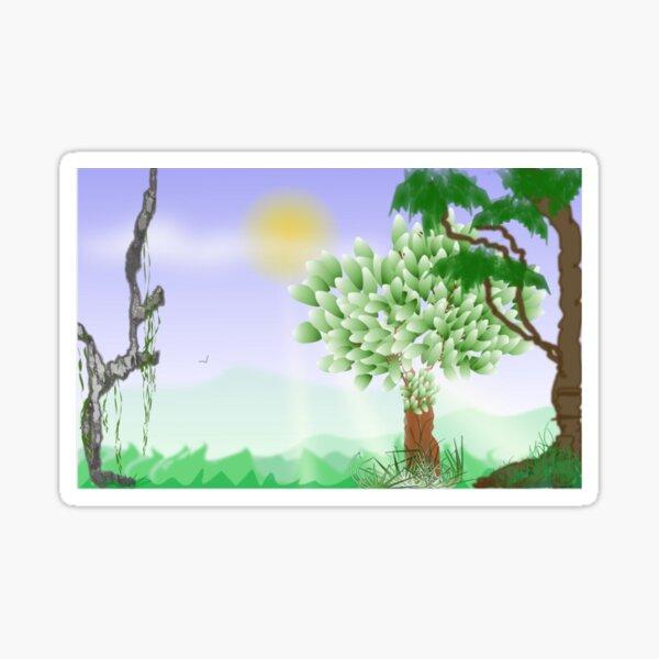 Trees Scene Line Art Design Sticker