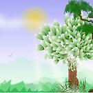 Trees Scene Line Art Design by GreenBeeMee
