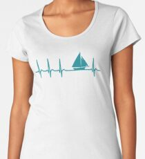 Heartbeat Sailing T-Shirt - Cool Funny Nerdy Heartbeat Sailor Sailing Club Sailboat Instructor Humour Statement Graphic Image Quote Tee Shirt Gift Women's Premium T-Shirt