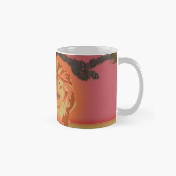 Lion Awakes On Approach Line Art Classic Mug