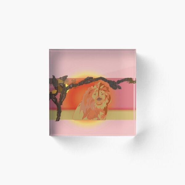 Lion Awakes On Approach Line Art Acrylic Block