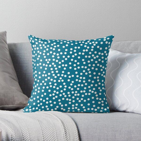 Dark Teal and White Polka Dot Throw Pillow