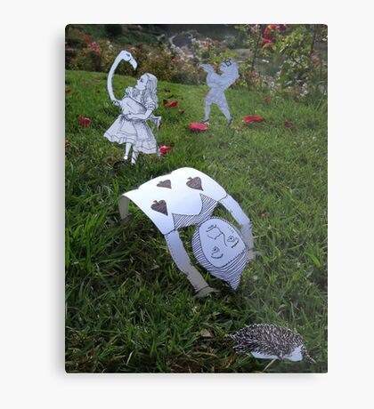 Alice and the Croquet Game Metal Print