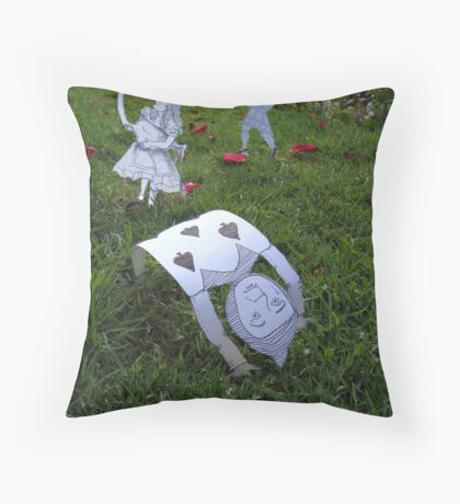 Alice and the Croquet Game Throw Pillow