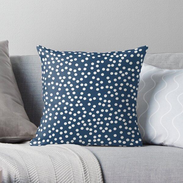 Petrol Blue and White Polka Dot Throw Pillow
