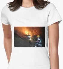 Israel, Haifa Carmel Mountain Forest, A fire engine cannon spraying water on the flames Women's Fitted T-Shirt