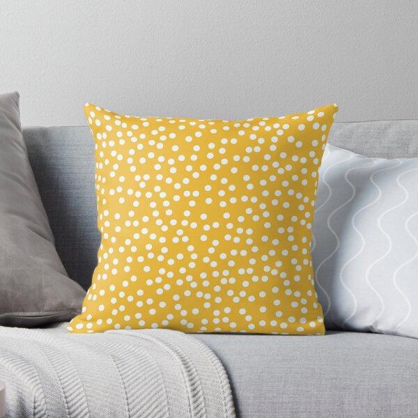 Retro Mustard Yellow and White Polka Dot Throw Pillow