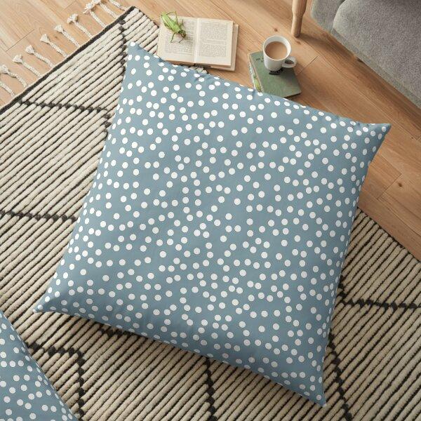 Dusty Blue and White Polka Dot Floor Pillow