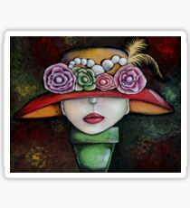 Abstract Hat print by Angieclementine Sticker
