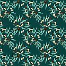 Eucalyptus Deep Green, Peach, Duckegg Blue by ThistleandFox