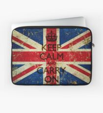 Square Grunge Keep Calm and Carry On Union Jack Laptop Sleeve