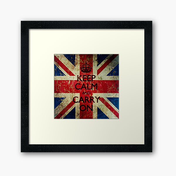 Square Grunge Keep Calm and Carry On Union Jack Framed Art Print