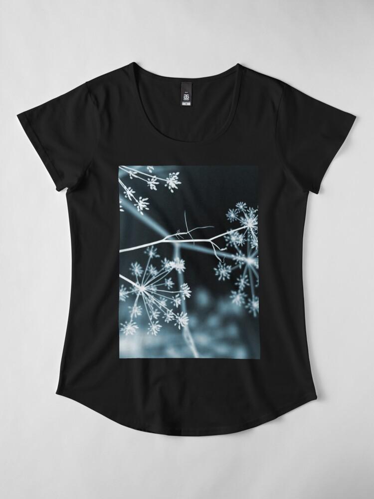 Alternate view of Midnight Glow. Dark Floral Premium Scoop T-Shirt