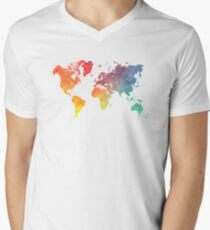 Map of the world colored Men's V-Neck T-Shirt