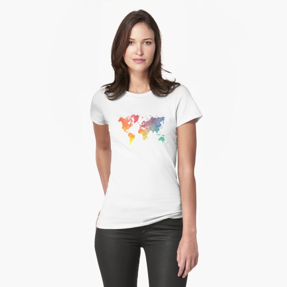 Karte der Welt gefärbt Tailliertes T-Shirt