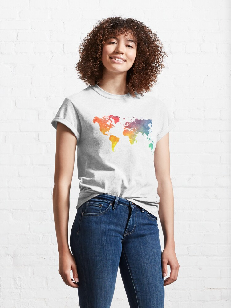 Alternate view of Map of the world colored Classic T-Shirt