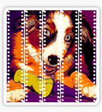gxp australian shepherd aussie dog puppy vector art late sunset Sticker