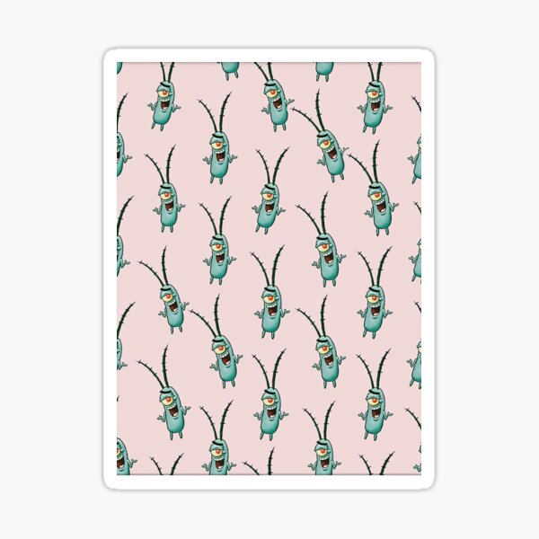 Spongebob's Plankton Pattern on Pink Blackground Sticker