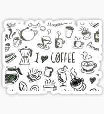 I Love Coffee Illustration and Text  Sticker