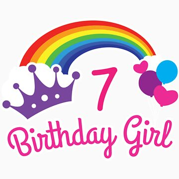 Girls Rainbow Princess 7th Birthday Shirt Princess Party by orangepieces