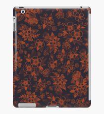 Vinilo o funda para iPad Azul marino oscuro y naranja / moho estampado de flores