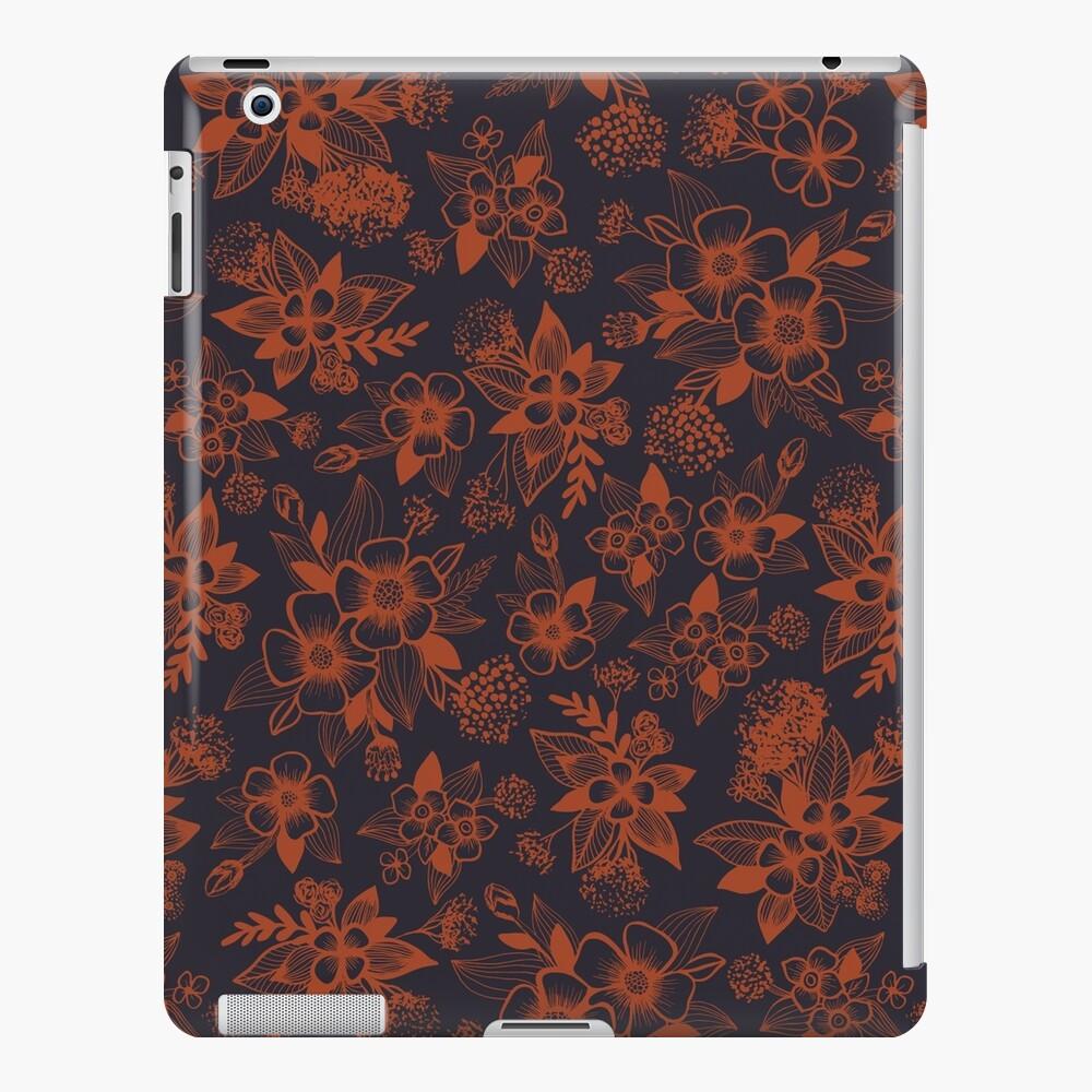Azul marino oscuro y naranja / moho estampado de flores Funda y vinilo para iPad