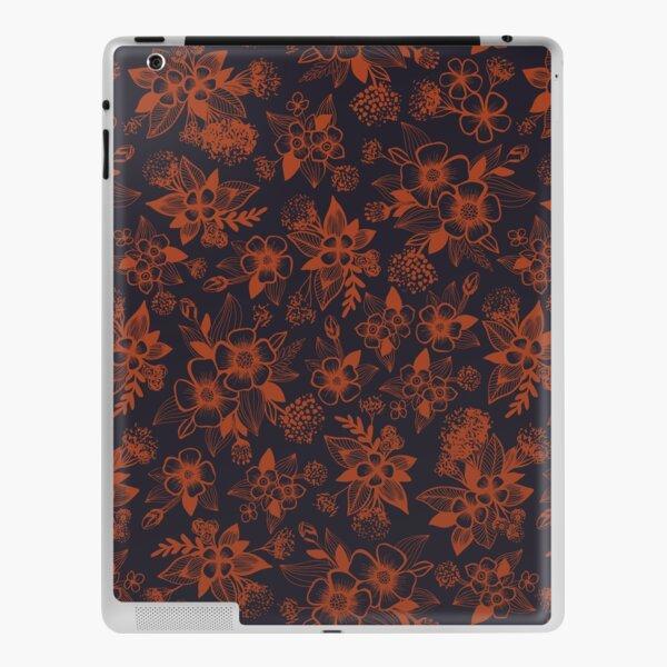 Dark Navy Blue & Orange/Rust Floral Pattern iPad Skin
