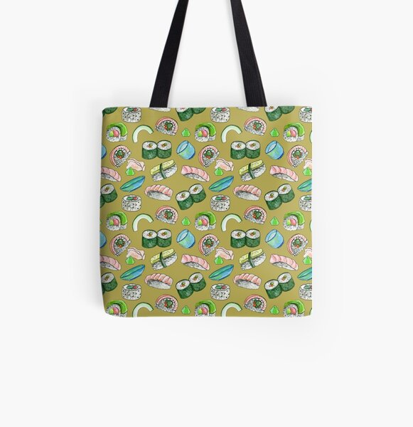Sushi, Yum! in gold All Over Print Tote Bag