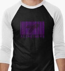 Bar Code Ribbon Alzheimers Awareness Men's Baseball ¾ T-Shirt