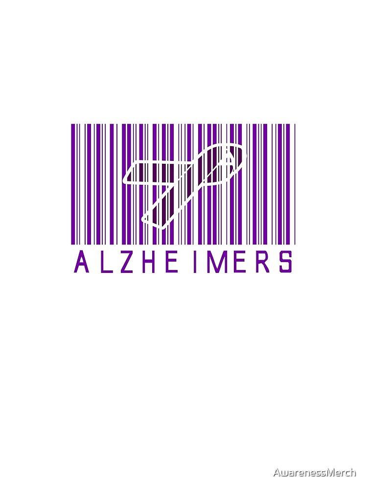 Bar Code Ribbon Alzheimers Awareness by AwarenessMerch