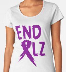 END ALZ Ribbon Alzheimers Awareness Women's Premium T-Shirt